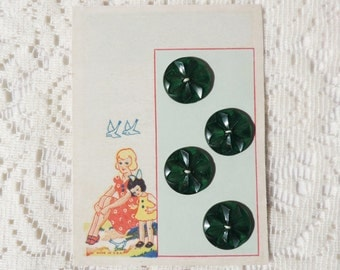 Free Shipping Vintage Buttons Lucite Teal Green Star Flower Design Set of 4 Button Sewing Notions