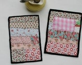 Pink Calico Pot Holders - set of 2 - Handquilted in Perle Cotton