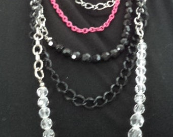 CLEARANCE SALE Vintage 80's Multi Strand Chain and Bead Necklace and 3pc Bracelet set