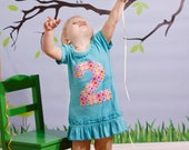 Girls 2nd Birthday Dress, Second Birthday Tunic, Size 3 Fits like 2T 3T, Green Blue Pink, Flower Applique #3 Shirt, Ready to Ship, Spring
