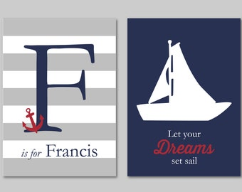"Let Your Dreams Set Sail Nautical Nursery Art New Baby Boy Gift Nautical Decor Nautical Nursery Gift Two Prints You Choose Colors 5""x7"""