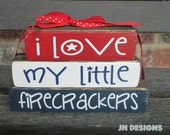 "4th of July blocks- I love my little Firecrackers ""MINI"" stacker blocks"