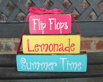 "Summer ""CHUNKY"" stacker-Flip Flops Lemonade Summer time"