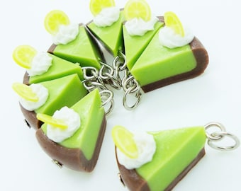 Mint Chocolate Tart, Miniature Polymer Clay Foods Supplies for Beaded Jewelry Charm, 10 pcs