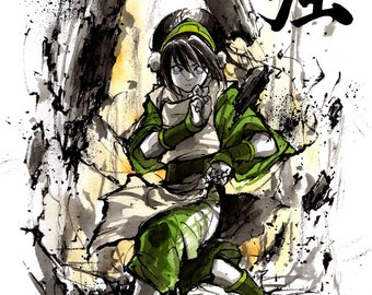 8x10 PRINT Toph from Avatar Japanese Calligraphy STRENGTH