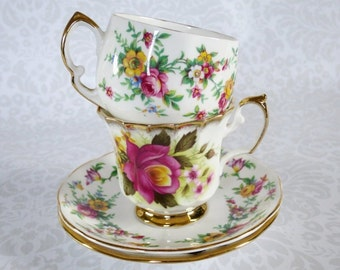Pair of Vintage Tea Cups and Saucers Floral Chintz  /  Old Rose Pattern Teacups and Saucers  /   Two English Cups and Saucers