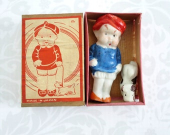 Frozen Charlotte Doll w Dog  /  Vintage Japan 50s Bisque Doll with Dog  /   Matchbox Mini Kawaii Cutie Doll  SwirlingOrange11