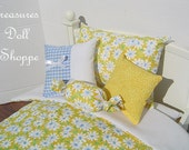 Doll Bedding 5 Pc Set for 18 Inch Dolls - Daisy Sunshine
