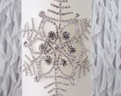 Snowflake Unity Candles | Rhinestone Embellished | White or Ivory | Winter wedding