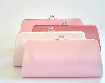 Set of 7-Simple Satin clutches in Medium size / Bridesmaid clutches / Wedding clutches - Custom Color