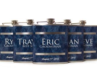 5, Groomsmen Gift Flask Sets, Personalized Flasks for Groomsmen, Blue Design for Groomsmen, Best Men and Usher Gifts