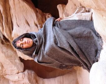 Huge Handwoven Yak Wool  Shawl ~ Grey