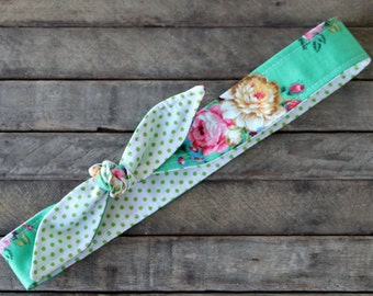 Reversible Headband Green with Pink Flowers over White and Green Polka Dots Girls Teen Women Hair Accessory Headscarf Hairband