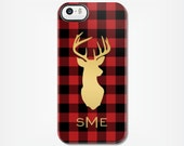 Buffalo Check Red and Black Plaid Personalized iPhone Case with Gold Effect Deer and Monogram