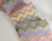 Pastels Burlap Chevron Table Runner/Easter, Hand Painted Burlap Table Decor by sweetjanesplan