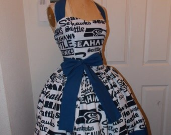 Custom Made to Order Seattle Seahawks Sweet Heart Halter Football Pin UP Dress and sash
