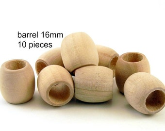 16mm Unfinished Wood Barrel Beads with large hole - 10 pieces