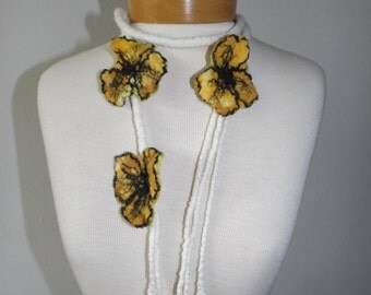 Yellow flowers necklace, hand made necklace, unique yellow  necklace   Felted  flowers Merino wool necklace  OOAK ,