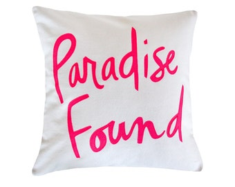 Paradise Found Pillow, White and Neon Pink