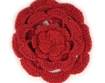 """3"""" Four Level Red Crochet Flower"""