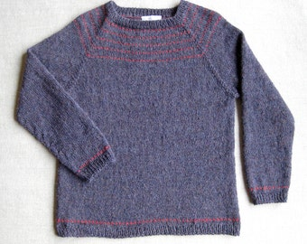 Alpaca Pullover Sweater Hand-knit in Blueberry Heather