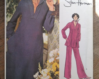 1970'S Vogue American Designer Sewing Pattern 1168 Stan Herman Tunic Dress & Pant Size12- uncut- Vogue American, Stan Herman, tunic top