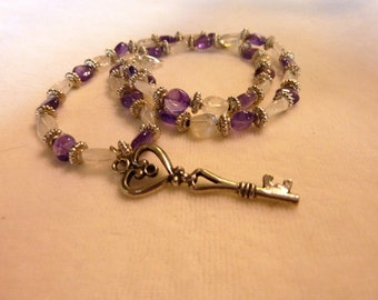 Moonstone Silver Amethyst Key Pendant Necklace - 20 Inches