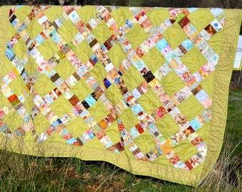 Twin Size Quilt, Springtime Patchwork Quilt