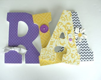 Custom Wooden Letters - Gray, Purple, and Yellow - Baby Girl Nursery Letters
