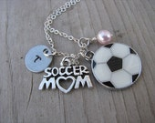 """Soccer Mom Necklace- Soccer Charm, """"SOCCER MOM"""" charm, hand-stamped initial and an accent bead in your choice of colors"""