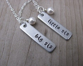 "Sisters Necklaces- 2 Necklace Set- ""big sis"", ""little sis"" rectangle pendants- with pearl-set of 2 necklaces"