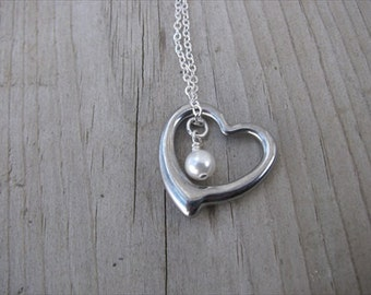 Heart Necklace- Antique Silver with an accent bead in your choice of colors- great mother's necklace