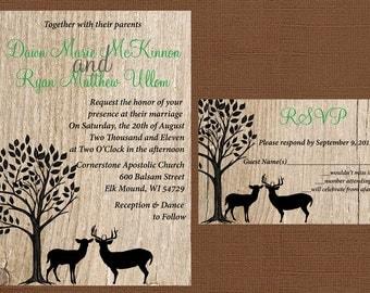 rustic wedding invitation deer wedding invitation antler wedding invitation tree wedding invitation - Deer Wedding Invitations