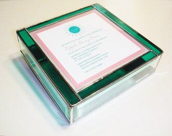 Stained Glass Keepsake Memory Box Bat Mitzvah Wedding Invitation 8x8x2 Handmade Custom Made-to-Order