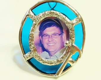 Stained Glass Custom-Made Memory Photo Charm Wedding Bouquet Family Friend Hand-crafted OOAK