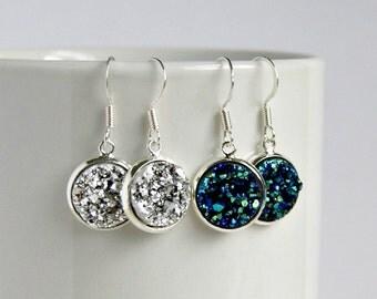 pop rox faux druzy drop earrings, blue or silver, dangle, french hook, drusy