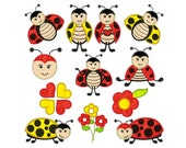 LADYBUGS 1 - Machine Applique Embroidery - Instant Digital Download