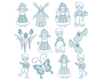 Holland. Netherlands, DUTCH, BLUEWORK - Machine Embroidery - Instant Digital Download