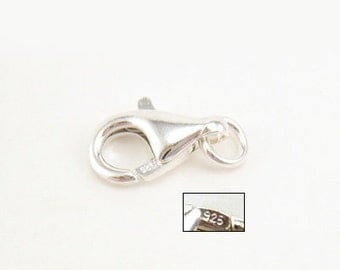 25PCS Sterling Silver Lobster Claw Clasp 6.0 x 10mm. Made in Italy. S1006010R