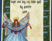 Quilt Label - Log Cabin Angel, Custom Made & Hand Embroidered