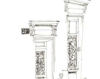 Paris doors drawing Art print