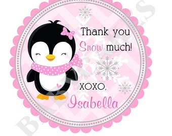 Penguin Birthday Party Favor Tags or Stickers / Winter / Winter Wonderland / Winter Onederland