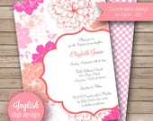Printable Floral Baptism Invitation, Floral Baptism Invite, Baptism Invitation, Baptism Invite - Sunshine Floral in Coral, Pink and Fuchsia