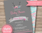 Floral Antlers Baby Shower Invitation, Floral Antlers Baby Shower Invite, Printable Antlers Baby Shower Invitation in Gray, Fuchsia, Aqua