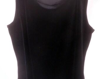 Black Velvet Shell top, sleeveless top, Size women's medium