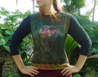 Upcycled Bhagavad Gita 3/4 Sleeve Top