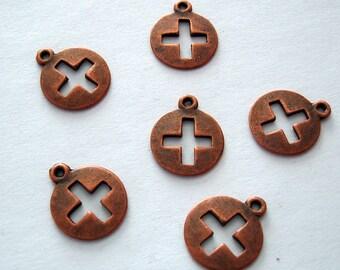 10pcs-Pendant Charm Cross Antiqued Copper  14mm .