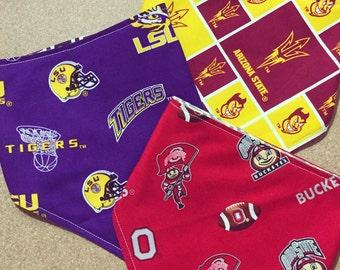 College Teams - Reversible Bibdana, Baby/Toddler Bib - Show your school spirit and choose your alma mater, ncaa, mascots