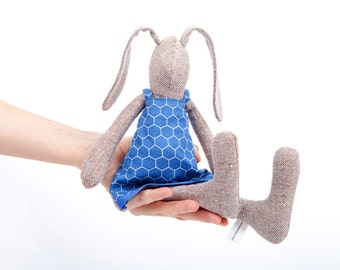 Plush SMALL bunny doll,  knitted silk fawn rabbit , light brown baby girl bunny in navy blue geometric dress ,beige handmade eco doll