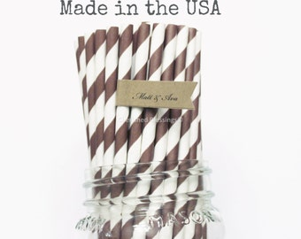 Brown Paper Straws, 50 Chocolate Brown Paper Straws, Made in USA, Wedding, Baby Shower, Rustic Party Supplies, Drinking Straws Striped Straw